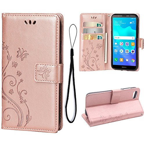 Wallet Case for Huawei Y5 2018/Y5 Prime 2018, 3 Card Holder Embossed Butterfly Flower PU Leather Magnetic Flip Cover for Huawei Y5 2018/Y5 Prime 2018(Rose Gold)