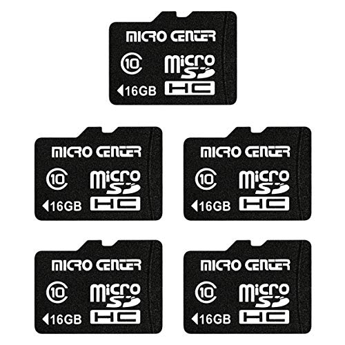 Micro Center 16GB Class 10 Micro SDHC Flash Memory Card with Adapter for Mobile Device Storage Phone Tablet Drone (5 Pack)