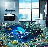 hhlwl Photo Fond D'écran HD Monde Sous-marin Dauphin Salle De Bain PVC Autocollant 3D Autocollants De Plancher Étanche Home...