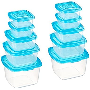 Mr. Lid 10 Piece Attached Lid Plastic Container, Clear with Blue Lids