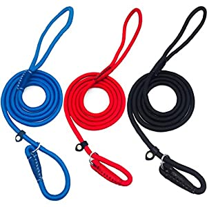 Myciy Laisse lasso en corde, 5pieds réglable Boucle en nylon tressé Heavy Duty Laisse de dressage de chien pour grand Medium et chiens de petite taille