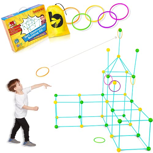 Fort Building Kit – for Boys and Girls, 2-in-1 Outdoor and Indoor Fun Games, STEM Playset Includes 95 pcs, Toss Rings, Carrying Bag, Family Activity Toys – Ages 5+