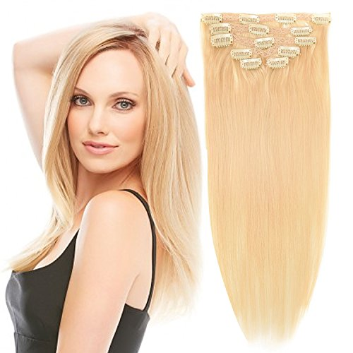 16'Clip in Hair Extensions Real Human Hair Double Weft Thick to Ends Bleach Blonde(#613) 6pieces 70grams/2.45oz