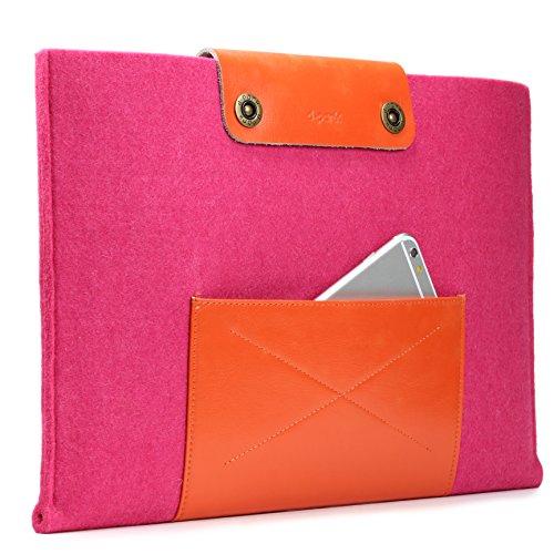 Urcover Handgefertige Designer MacBook Pro 15 Zoll (47 cm) Tasche Sleeve Hülle EXTRA Fach für Maus Ladekabel etc. Notebooktasche Ultrabook-Schutzhülle Laptophülle in Rosa Orange