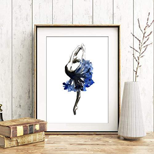 Din A4 Kunstdruck ungerahmt - Tanz Tänzerin Ballett Ballerina Aquarell blau Geschenk Druck Poster Bild