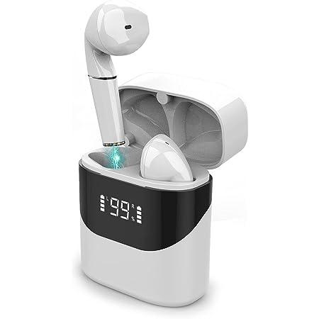(2021 Nuevo modelo) Cheelom Audífonos Inalámbricos Bluetooth 5.0,Reducción de ruido e impermeable,Alta calidad de sonido HiFi sin pérdidas,con estuche de carga, Pantalla LED de Batería, Control Tactil, Micrófonos Dual Incorporado,Juegos, oficina, deportes. blanco(Modelo: P23)