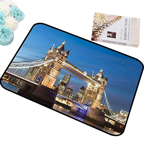 Living Room Carpet,London Scenery of Landmark Tower Bridge at Twilight with Skyscrapers England UK Image,Best Baby Walker for Carpet,5 x 6 Feet(59 by 71 Inch) Blue and Ivory