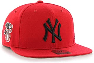 New York Yankees Red Sure Shot 47 Captain Wool Black Logo Snapback Hat