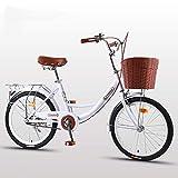 2020 Cómoda Bicicleta De Ciudad con Una Canasta, Bicicleta, Elegance Bicicleta Urbana, City Bike, Bicicleta Paseo, Bicicleta De Paseo Mujer, Bicicleta Urbana Vintage Retro,Blanco,26 Inches