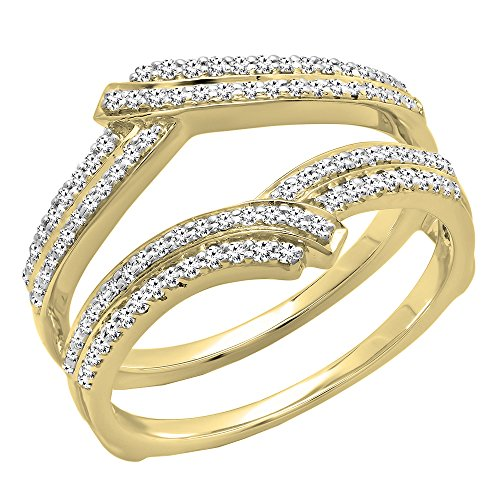 Dazzlingrock Collection 0.32 Carat (ctw) 10K Round Diamond Ladies Wedding Double Guard Ring 1/3 CT, Yellow Gold, Size 7