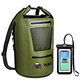 RUNCL Waterproof Dry Bag ANCOHUMA, Dry Compression Sack, Dry Backpack with Waterproof Phone Case - Reinforced Construction, MOLLE System - Kayaking Camping Fishing RV Surfing Rafting (Green,20L)