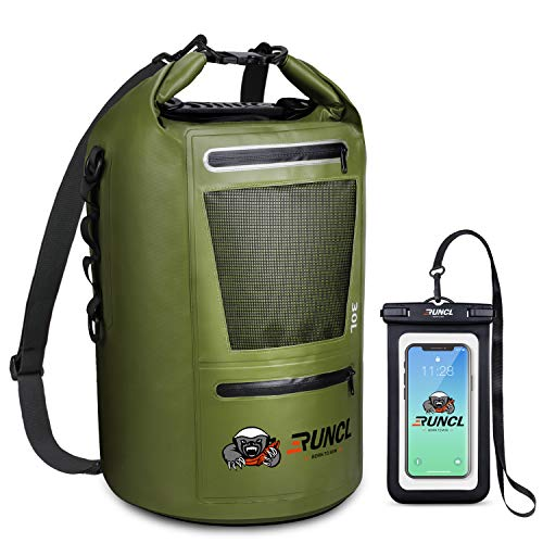 RUNCL Waterproof Dry Bag ANCOHUMA Dry Compression Sack Dry Backpack with Waterproof Phone Case  Reinforced Construction MOLLE System  Kayaking Camping Fishing RV Surfing Rafting Green20L