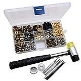 Nrpfell 120 Unids/Set Kit de Cierres una PresióN Botones de PresióN de Metal Herramienta de Botones de PresióN con Herramienta de FijacióN de Broches para Ropa ArtesaníA de Cuero