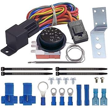 [SCHEMATICS_4ER]  Amazon.com: American Volt Adjustable Temperature Thermostat Dual 12 Volt  Electric Radiator Fan Relay Switch Wiring Kit Car Truck: Automotive | 12 Volt Fan Relay Wiring Diagram |  | Amazon.com