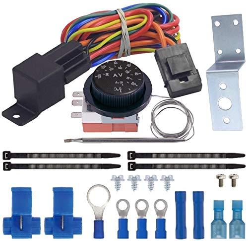 American Volt Kit de interruptor de cableado de relé de termostato ajustable para ventilador eléctrico de doble radiador para coche y camión (Premium)