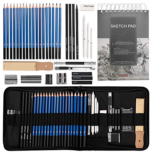 Drawing Pencils Sketch Art Set-40PCS Drawing and sketch set Includes 18 Sketching graphite Pencils,graphite and charcoal pencils,100pages sketch book and Accessories