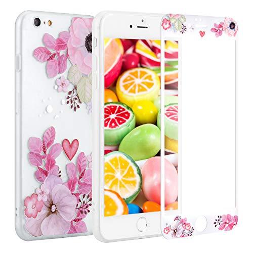 Sasairy iPhone6plus/iPhone6s plusケース 5.5インチ シリコン アイフォン6 プラスカバー 保護フィルム付きTPUケース 超軽量 ソフト 滑り止め アイフォン6 プラスケース 薄型 一体型 おしゃれ 綺麗 花柄プリント 防圧 耐衝撃 簡約風 女性用