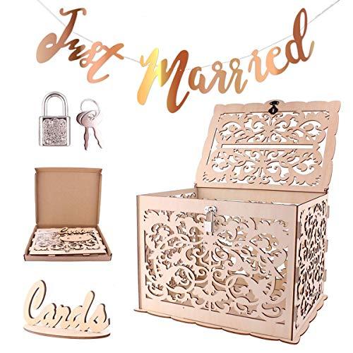 Caja de tarjeta de boda de madera de bricolaje,Richaa Vintage Hollow Wedding Card Post Box con cerradura y letrero de tarjeta y Bunting Banner recién casado para decoración de fiesta de compromiso