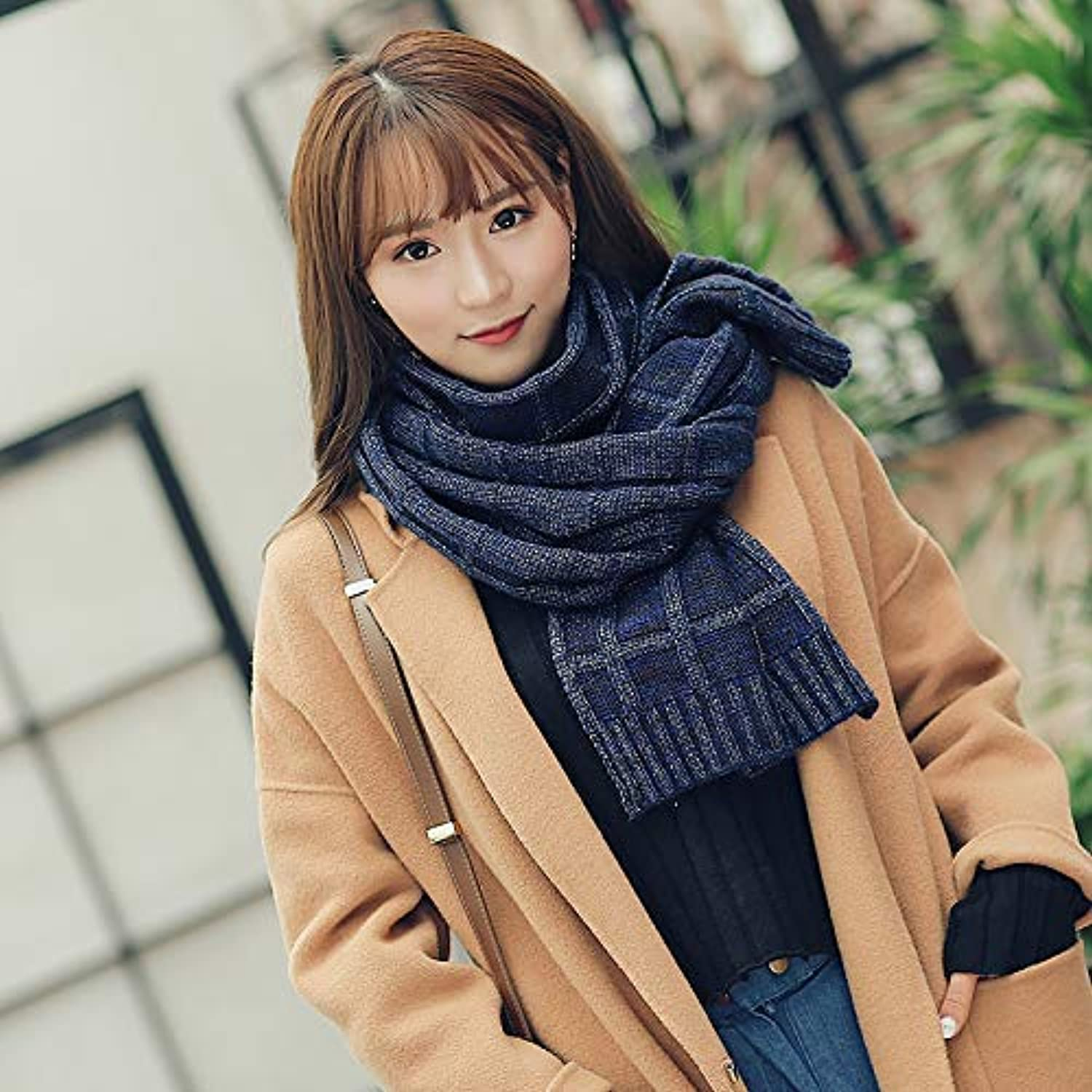 Warm Winter Scarf Scarf Female Winter Wool Wild Hand-Knit Young Knit Long Section Warm Scarf Thickening (color   Navy) Neck Scarf