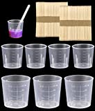 Owevvin 50 Pack 30ml/1oz Plastic Graduated Cups & 50 Pack 60ml/2oz Clear Plastic Measuring Cups Transparent Scale Cups, 100 Pack Wooden Stirring Sticks for Mixing Paint, Resin, Epoxy, Medicine, Stain
