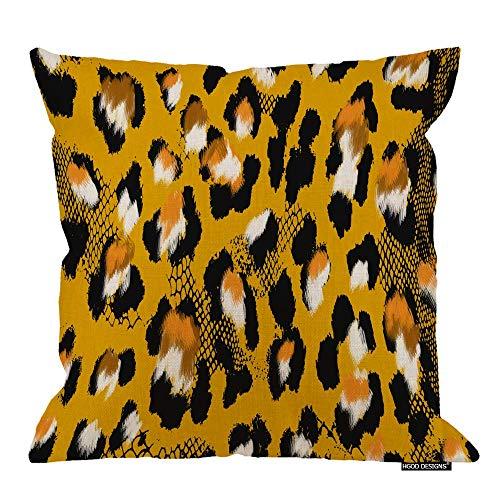 Funda de almohada con estampado de leopardo, pintura artística de algodón amarillo y negro, lino de poliéster, decoración decorativa del hogar, sofá, silla de escritorio, dormitorio, 45,7 x 45,7 cm