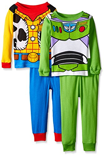 Disney Pixar Little Boys' Toy Story Adventure Buddies Woody and Buzz 4-Piece Pajama Set, Multi, 2T