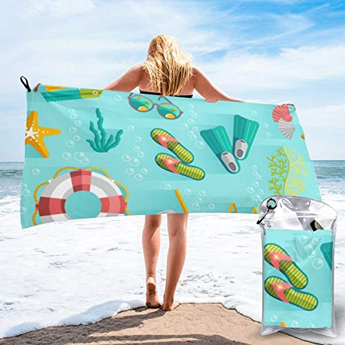 Colin-Design - Toalla de viaje de microfibra sin costuras, diseño tropical de vacaciones sin costuras, secado rápido, ligera, sin arena, para tomar el sol, mochilero, deportes, yoga, natación, 63' x 32'