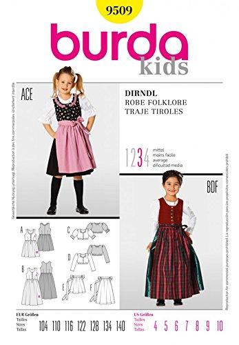 Burda Nähmuster 9509 für Kinder-Dirndl, Größen: 104-140