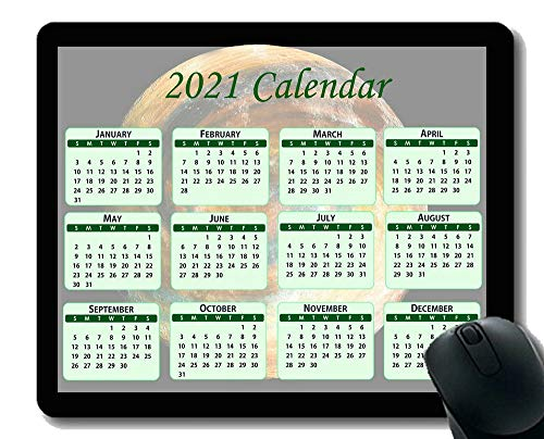 Calendar 2021,Seasons of Different Colo Mouse Pad,Andromeda Galaxy with Stars Mouse Pad with Stitched Edge