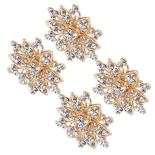 Tnfeeon 4 Pezzi di Cristallo Cavo Cavo a Forma di Fiore Fibbia Vestiti Borse Scarpe Fibbia...