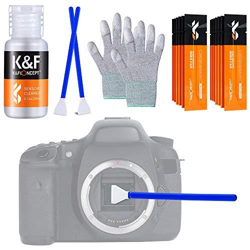 K&F Concept Sensor Reinigungsset mit Mikrofaser Swabs 16mm und Flüssig-Reiniger für APS-C Kameras, Reinigungs Kit für DSLR Kamera Objektive Filter Handys