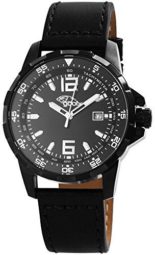 gooix HUA-05914 Uhr Herrenuhr Lederarmband Edelstahl 10 bar Analog Datum Schwarz