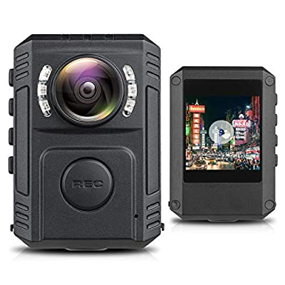 Upgrade Police Body Camera for Law Enforcement, 1080P HD Body Worn Camera with Night Vision, Built in 128GB SD Card, Wearable Police Cam with Phone App, Body Camera with Clip for Bicycle, Car, Hiking by GZDL