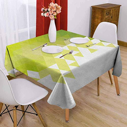 Hohun Verde Mantel Cuadrado Impermeable Diseño de patrón Abstracto Triangular Mosaico geométrico Efecto polivinílico Limpie rápido Amarillo Verde Verde Lima Blanco