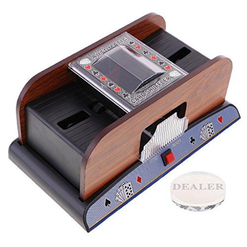 perfk Elektrischer Kartenmischmaschine Kartenmischer Pokerkarten Mischer für 1-2 Decks, mit Dealer Button