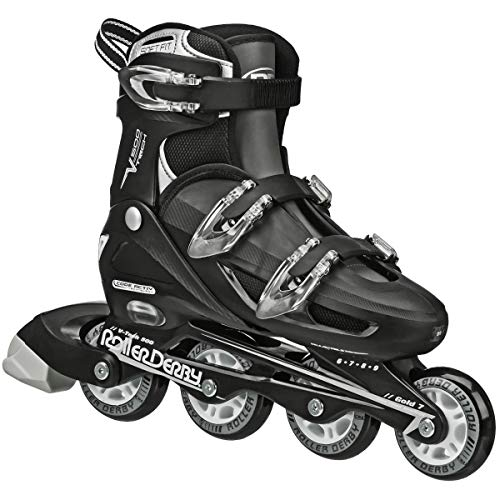 Roller Derby V-Tech 500 Inline Skates with Adjustable Sizing for kids, teens, and adults, Large (6-9), Black