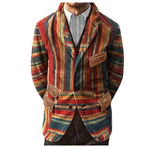 YOCheerful Business Blazer Mens Party Gradient Print Button Pockets Autumn Winter Corduroy Suit Coat Jackets Khaki