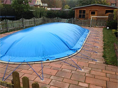 Aufblasbare Abdeckplane für Pool ovalform 3,60 x 7,37m, Farbe: blau, Air Cover, wasserdicht, reißfest