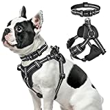 WINSEE No Pull Dog Harness, Step in Dog Harness with a Dog Collar, Chest Adjustable Soft Padded Vest, Reflective No Escape Harness Easy Running Walking for Small, Medium, Large, Extra-Large Dogs