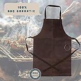 Michael Heinen Leder Grillschürze für Männer - Profi Vintage Kochschürze - Retro Küchenschürze BBQ Aprons - 3