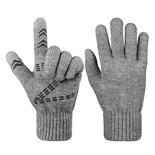 OZERO Guantes de ciclismo para hombre y mujer, para pantalla táctil, guantes de invierno para moto gris Talla única