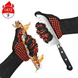 Misphly BBQ Grill Gloves,1472℉ Heat Resistant Oven Mitt Gloves,Oven Silicone Glove Fireproof for...
