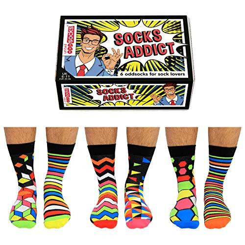 United Oddsocks - 6 Verschiedene Socken Herren 39-46, Socks Addict
