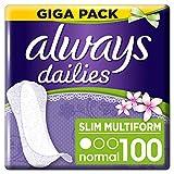 Always Dailies Flexistyle Slim Fresh Slipeinlagen Giga Pack (100 Stück) extra dünn und flexibel mit dezentem Duft für tägliche Frische, atmungsaktives Design für alle Slipformen