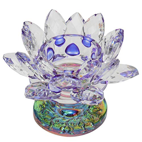 Garneck Glass Candle Holders Crystal Lotus Candle Tealight Holders Clear Taper Candle Stand Wedding Candle Holder For Wedding Bathroom Centerpeices