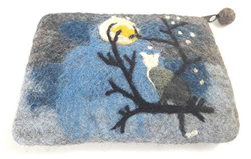 feelz - Täschchen aus Filz Katze im Mondlicht Geldbeutel Kosmetiktäschchen Filztäschchen - Fairtrade