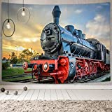 DYNH Steam Train Tapestry, Old Engine Train, Wall Tapestries Hanging Home for Bedroom Living Room Dorm TV Backdrop,Beach Blanket, 60X40 Inches