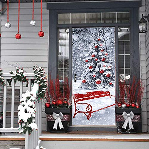 SoulSpaze 2 Adesivi 3D creativi per Porta con Albero di Natale, Fiocchi di Neve, Paesaggio Adesivo, Poster Impermeabile, Imitazione Vernice