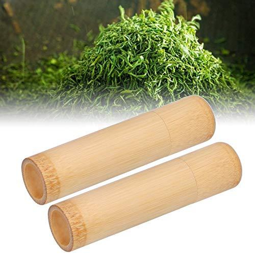Bote de té Caja de té de bambú natural Tubo de incienso ecológico natural Tubo de almacenamiento de 2 piezas Amigable para granos de café Especias Oficina en casa
