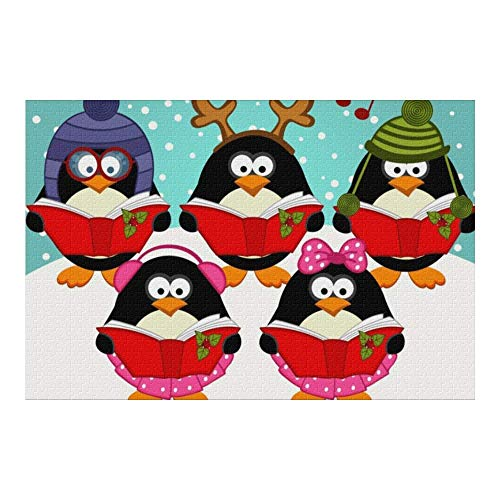 Picture Puzzle, Christmas Music Penguin Jigsaw Puzzle 1000 Piece Funny Brain Puzzles Educational Gift for Adult Kids Family Home Wall Decorations